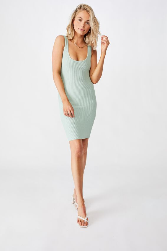 Maggie Square Neck Knit Dress, MINTY GREEN