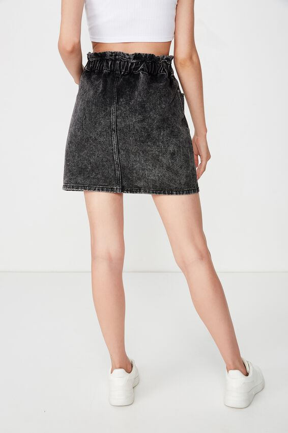 The Paperbag Waist Denim Skirt, BLACK ACID