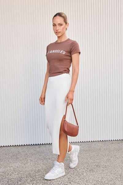 Gabby Printed T Shirt, CHOC MALT/LA TEXT