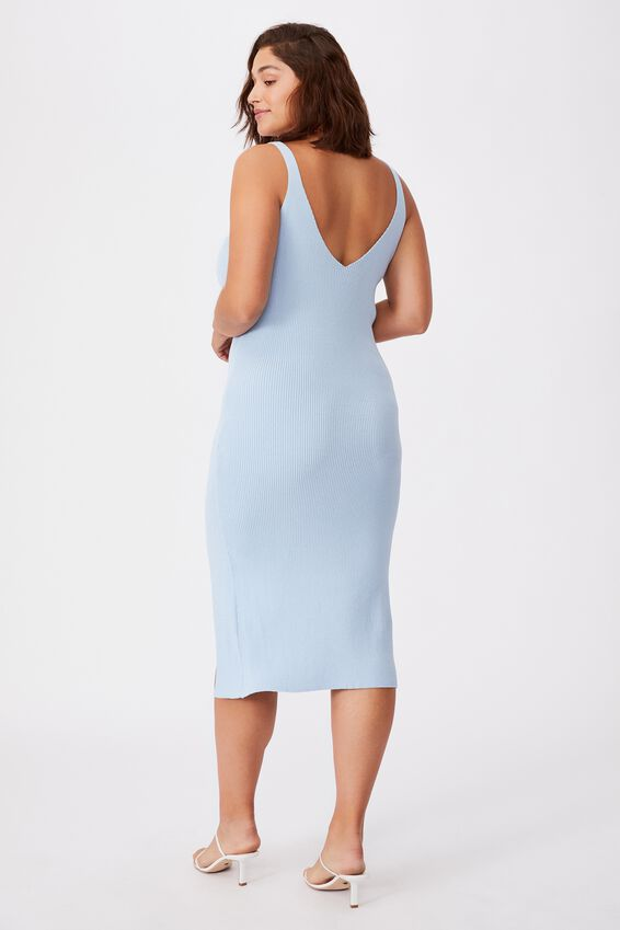 Ivory Knit Midi Dress, MID BLUE