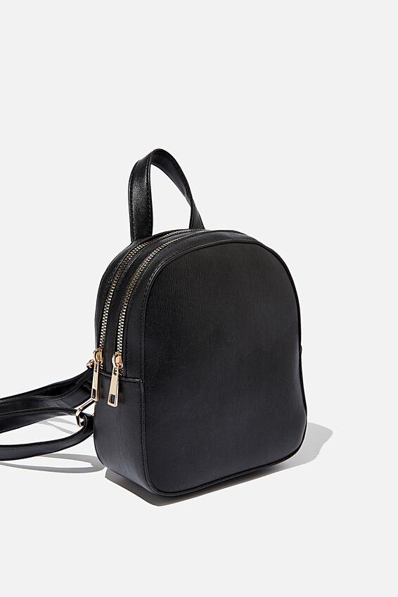 Double Zip Pu Backpack, BLACK PU