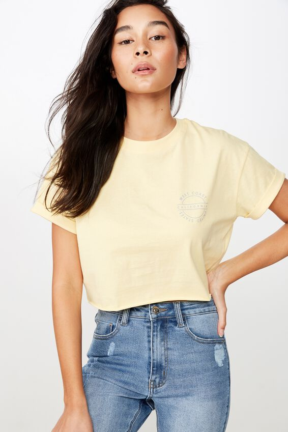 Tamara Graphic Crop Tee, LEMON WHIP/WEST COAST CALI