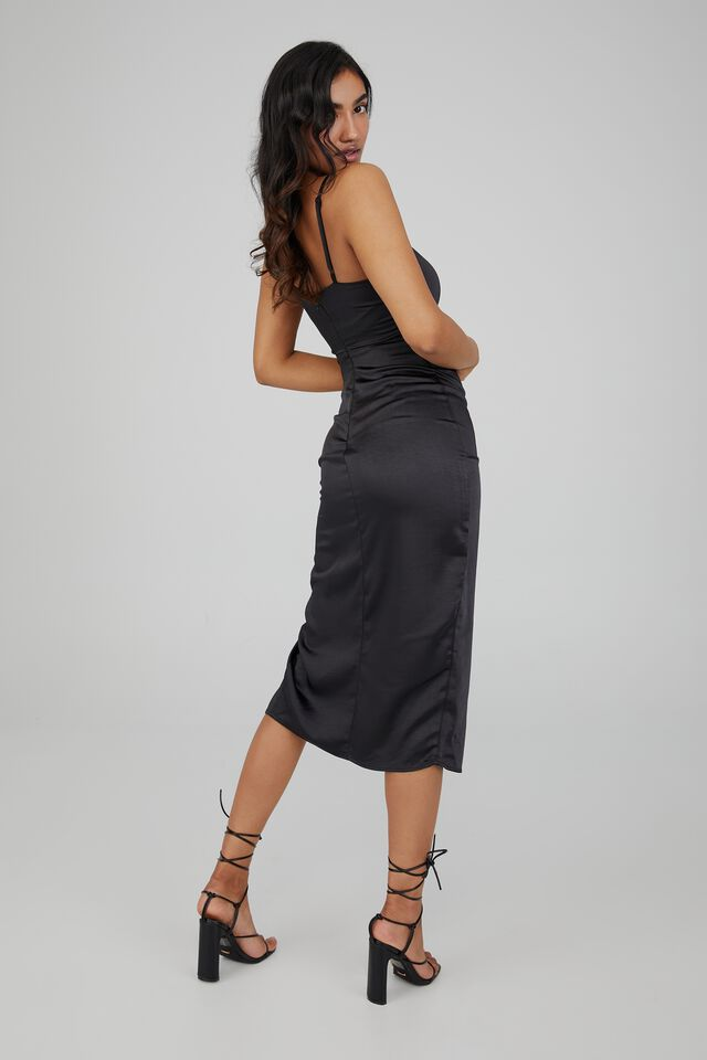 Joanna Ruched Cut Out Midi Dress, BLACK
