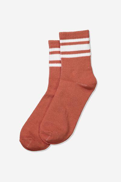 Wide Stripe Sporty Crew Socks, NUTMEG