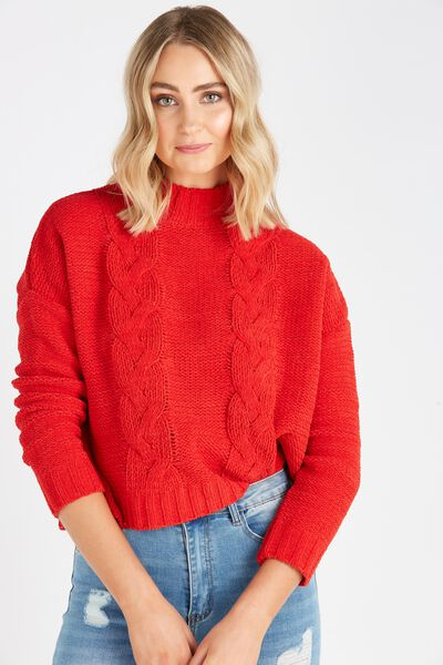 Chloe Cable Knit, RED
