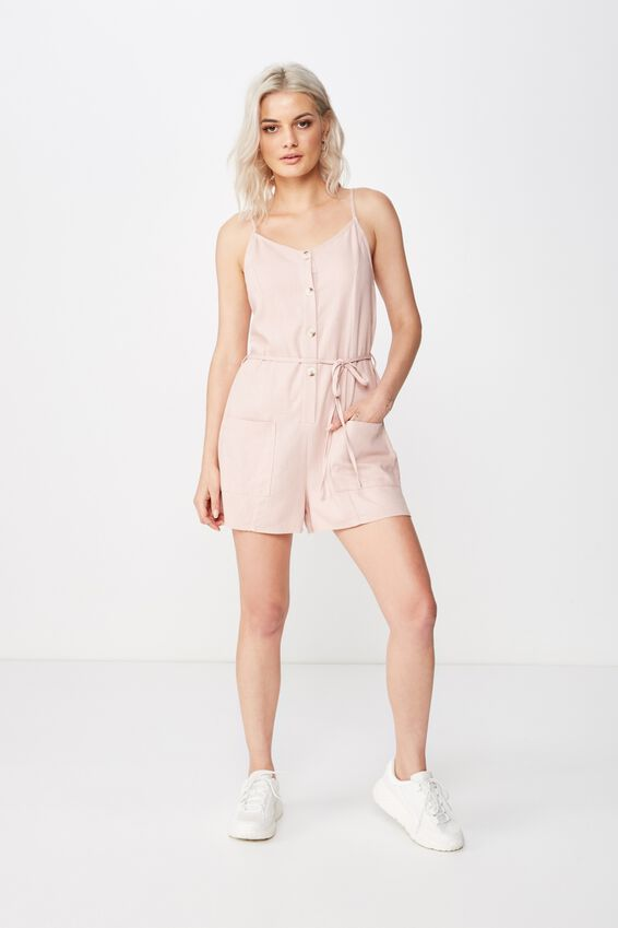 Charlie Button Front Linen Playsuit, DUSK PINK