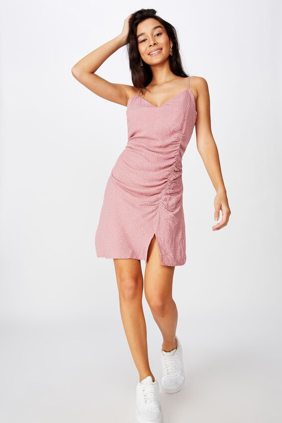 Jade V-Neck Ruched Dress, PINK RICE SPOT