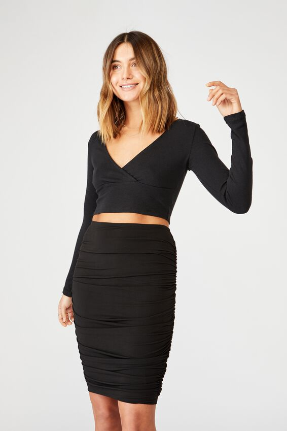 Oakley Gathered Midi Skirt, BLACK