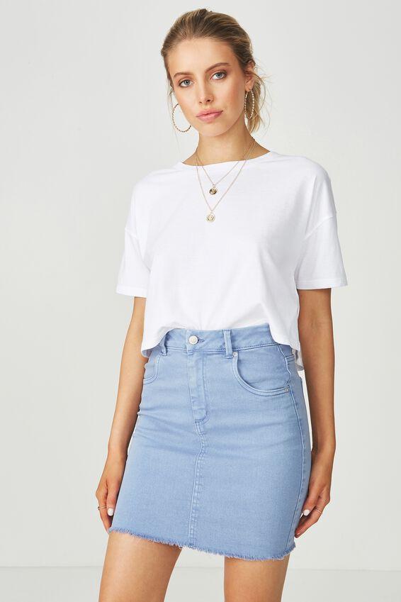 The Charmed Mini Denim Skirt, LIGHT SUNSET BLUE