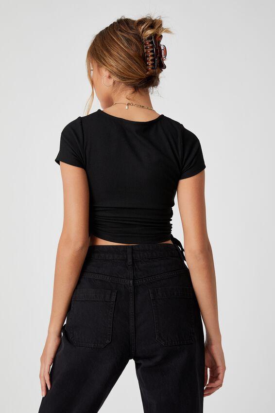Effie Drawstring Top, BLACK