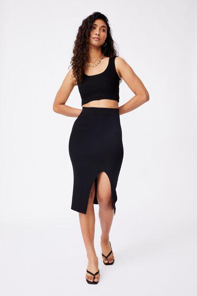 Audrey Midi Skirt Co Ord, BLACK