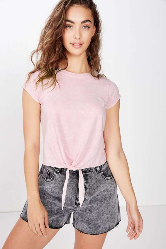 Finley Tie Front Top, WASHED CHALK PINK