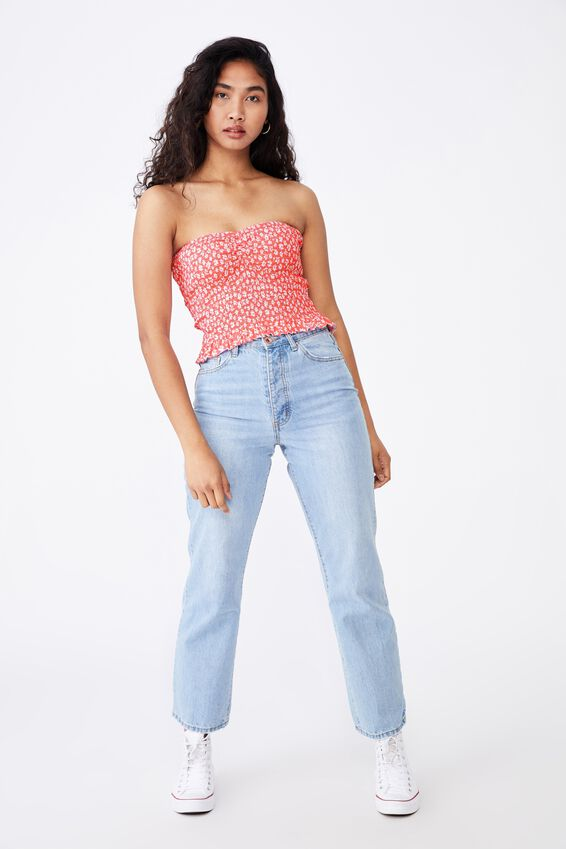 Alexa Gather Front Shirred Tube Top, RHIANNON FLORAL SUN KISSED CORAL