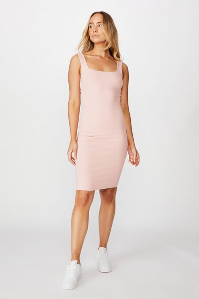 Square Neck Midi Dress, ROSE QUARTZ