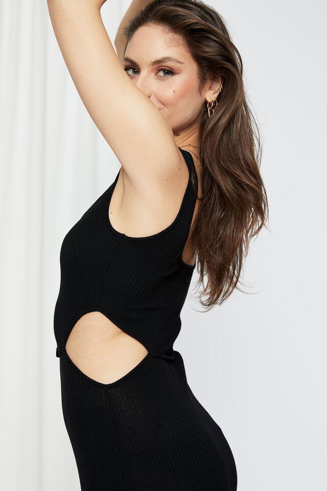 Elsa Cutout Knit Midi Dress, BLACK