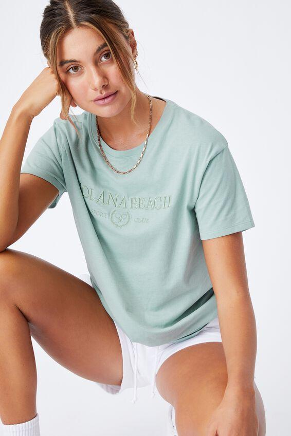 Solana Beach Longline T Shirt, MATCHA GREEN/SOLANA BEACH