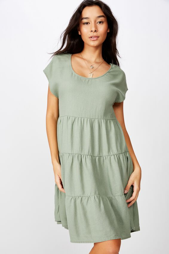 Peggie Tiered Dress, KHAKI