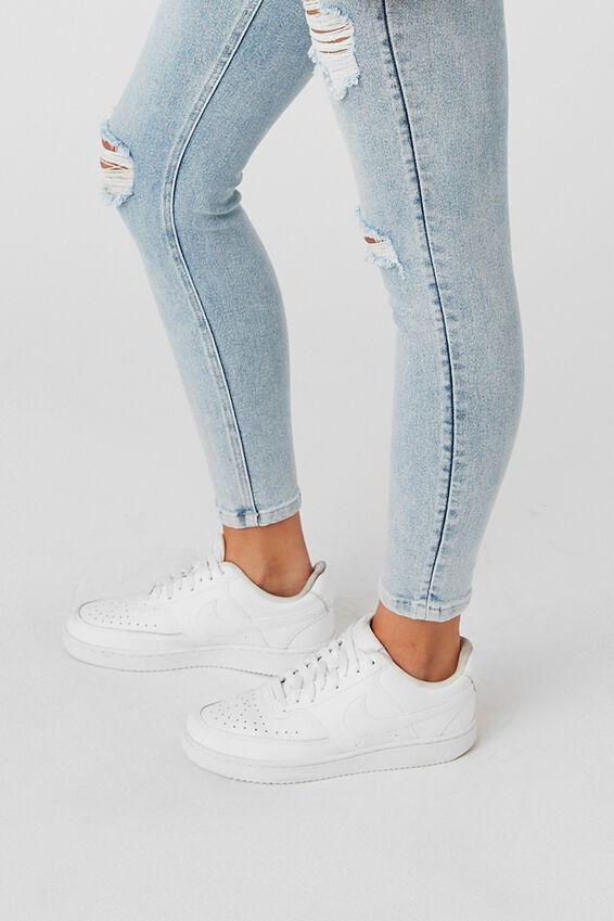 Short Leg Skinny Premium High Rise Ripped Jean, SKY BLUE