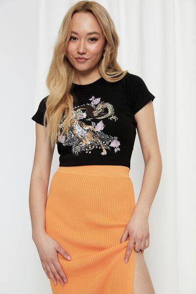 Bambi Printed T Shirt, BLACK/TIGER AND DRAGON