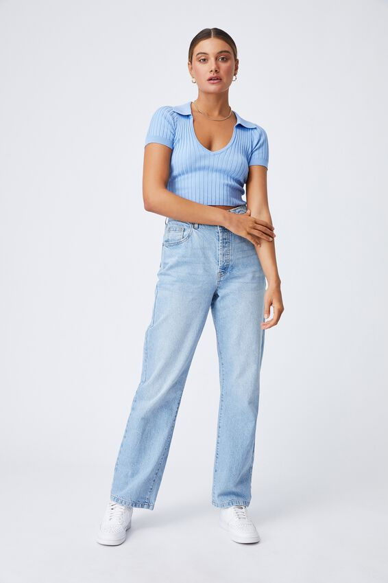 Harlow Polo Knit Top, BONNIE BLUE