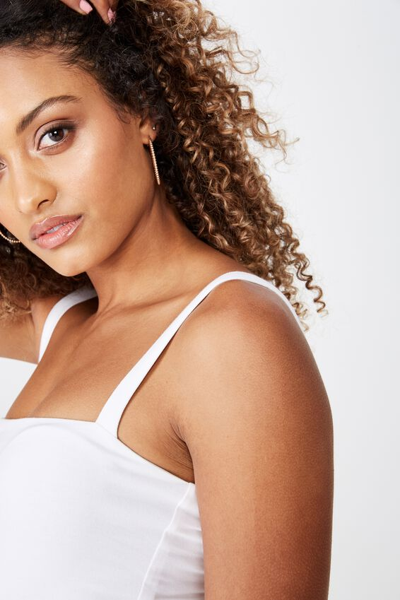 Delilah Thick Strap Bodysuit, WHITE
