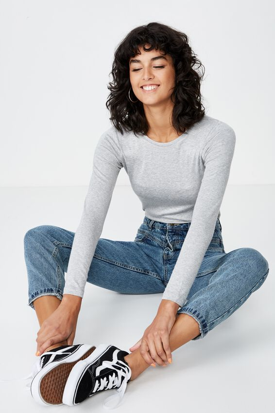 Jayla Long Sleeve Crew Neck Top, GREY MARLE