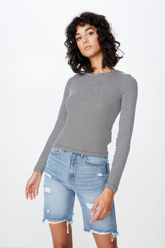 Jayla Long Sleeve Crew Neck Top, BLACK/WHITE STRIPE