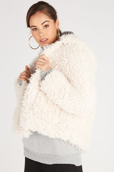 Gabby Hooded Oversized Teddy Jacket, NATURAL