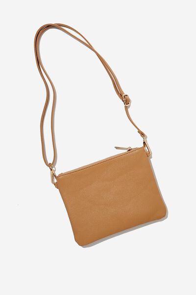 Sofia Zip Pouch With Wrist Strap, TAN PEBBLE
