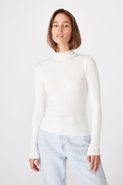 Monica High Neck Long Sleeve Knit, WHITE