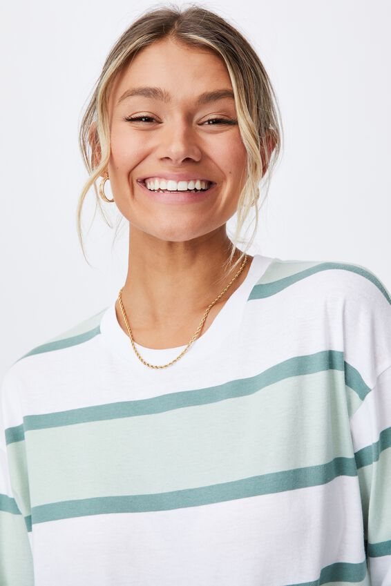Talia Long Sleeve T Shirt, ANDY STRIPE (MNTY GLW/WLLW GRN/WHT)