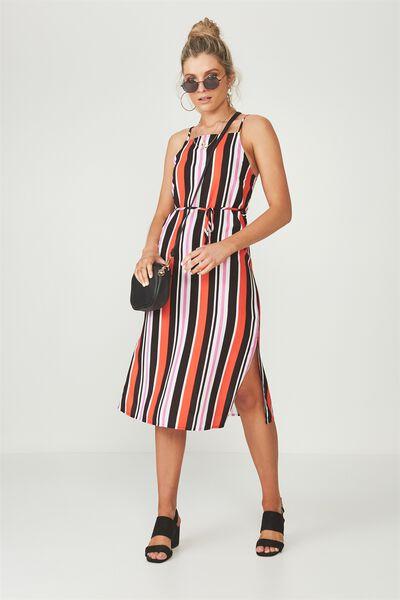 Phoenix Strappy Midi Dress, BOLD STRIPE TANGERINE