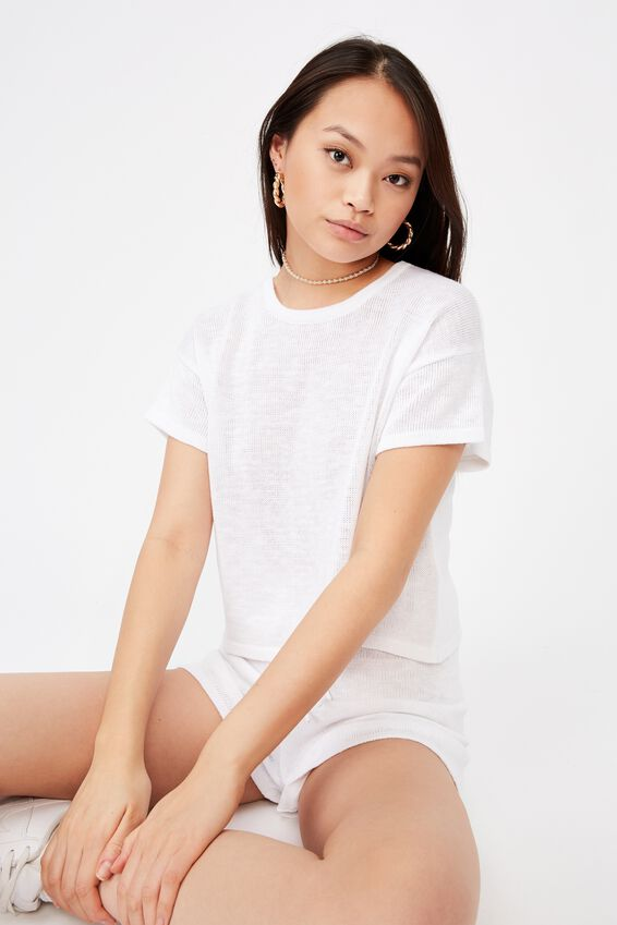 Brittany Tee Knit Co Ord, WHITE