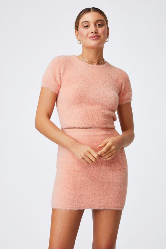 Fluffy Backless Co-ord Top, PEACHY ROSE