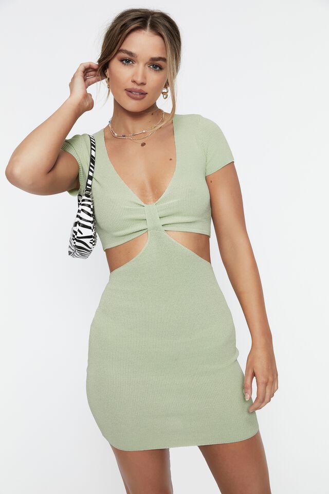 Evie Short Sleeve Cut Out Mini Dress, SPRING GREEN