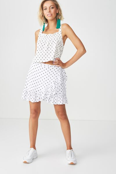 Shirred Strappy Crop Top, CLASSIC POLKA
