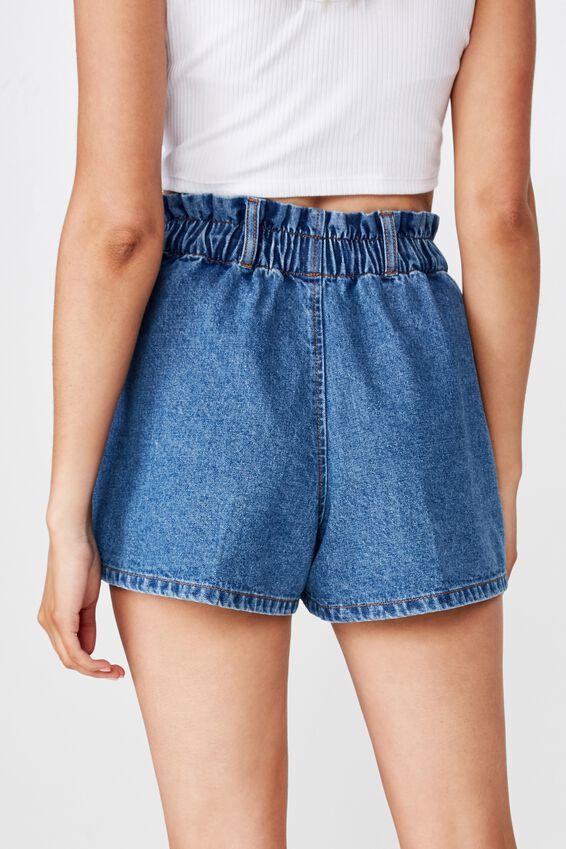 Amalfi Paperbag Waist Shorts, HARBOUR BLUE
