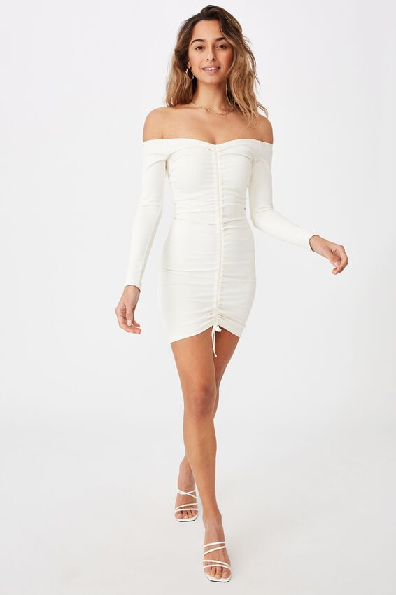 Freya Ruched Front Long Sleeve Dress, WHITE