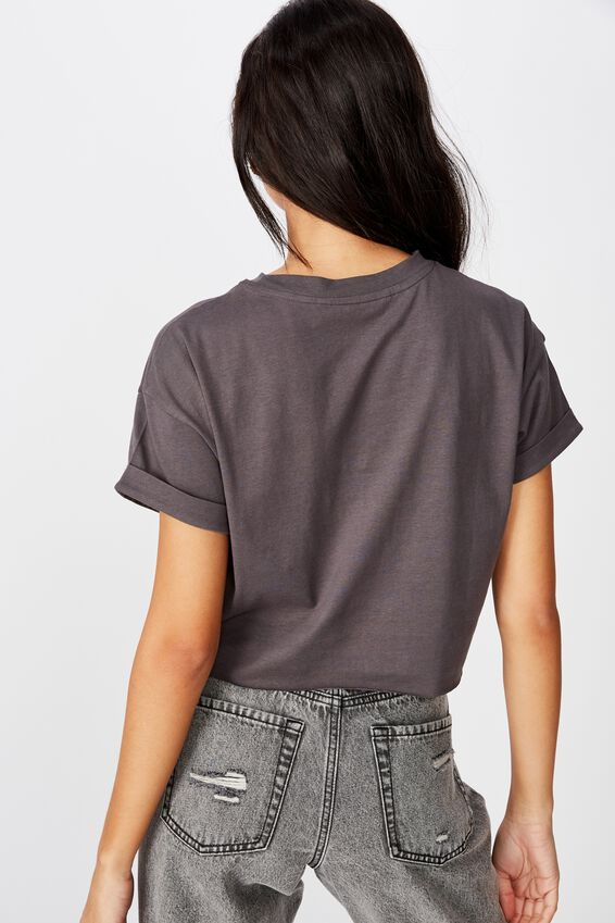 Tamara Printed Crop T Shirt, GRANITE GREY DEER HIGHWAY