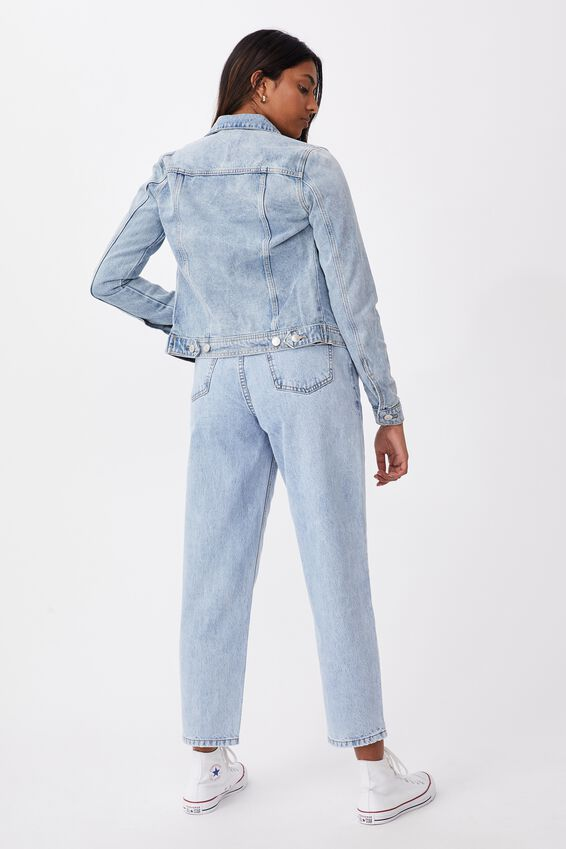 Casual Fitted Denim Jacket, LIGHT WASH