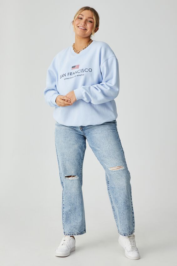 Tonya Oversized Crew Jumper, BLUE PETAL/SAN FRAN FLAG