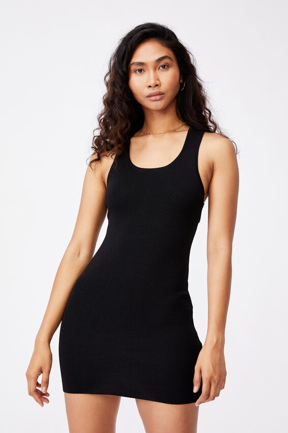 India Cutout Mini Dress, BLACK
