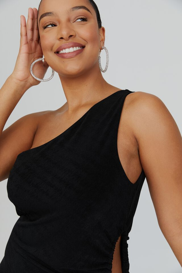 Tiffany One Shoulder Formal Dress, BLACK