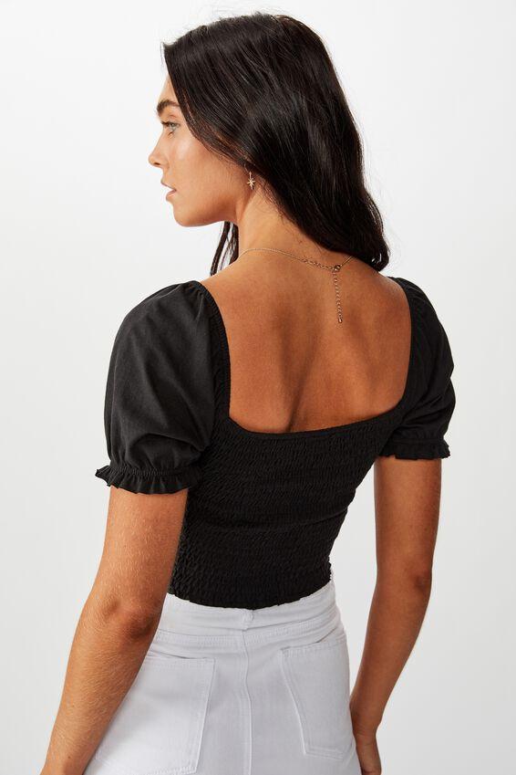 Shirred Puff Sleeve Top, BLACK