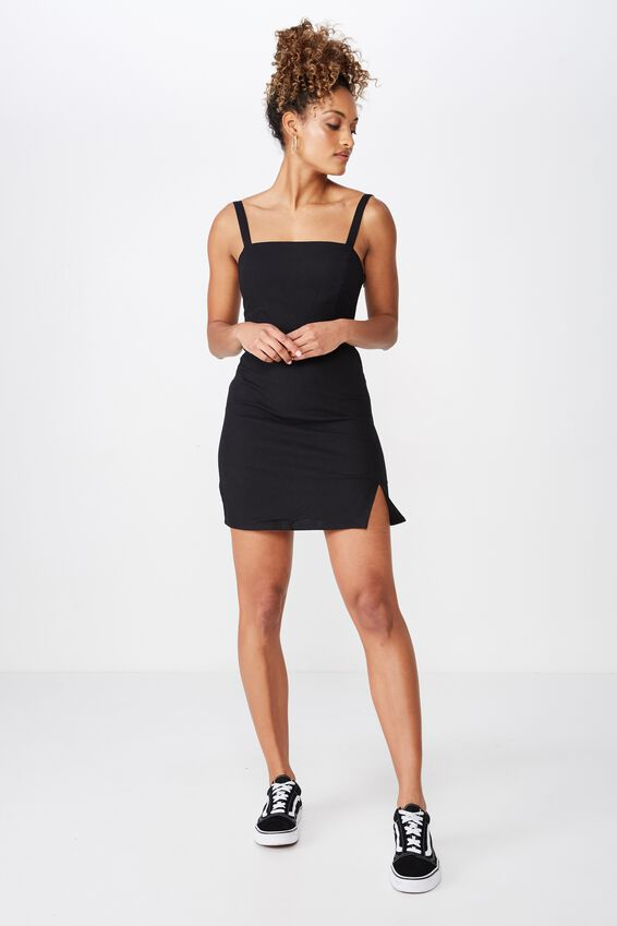 Bianca Wide Strap Cami Dress, BLACK