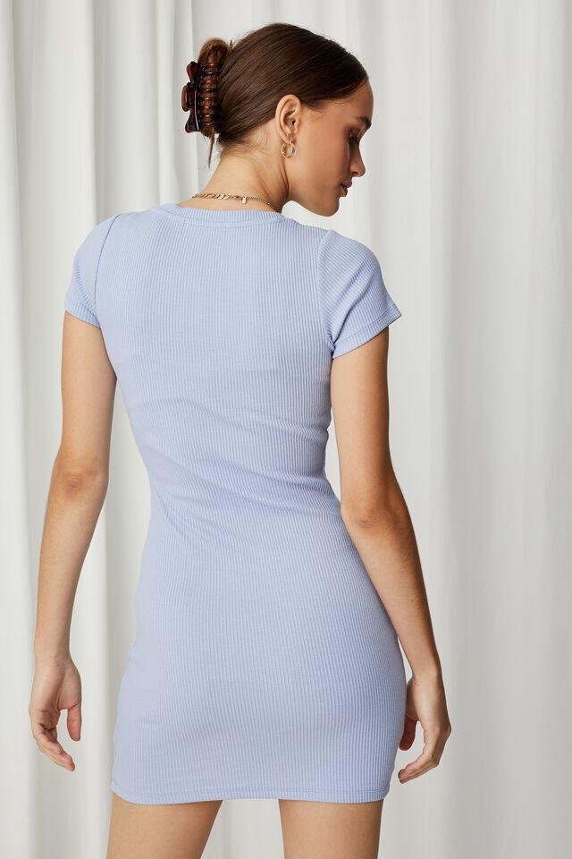 Lucia Rib Tee Mini Dress, AURA BLUE