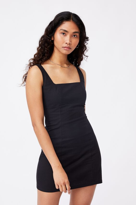 Capri Fitted Square Neck Mini Dress, BLACK