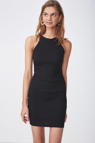 High Neck Rib Mini Dress, BLACK
