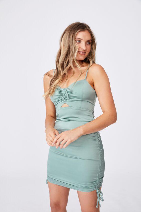Tahlia Ruched Dress, SOFT MOSS GREEN