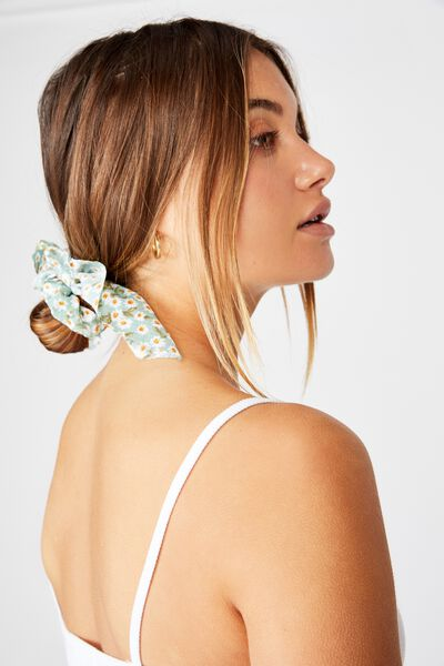 Scarf Scrunchie, SOFT MOSS FLORAL